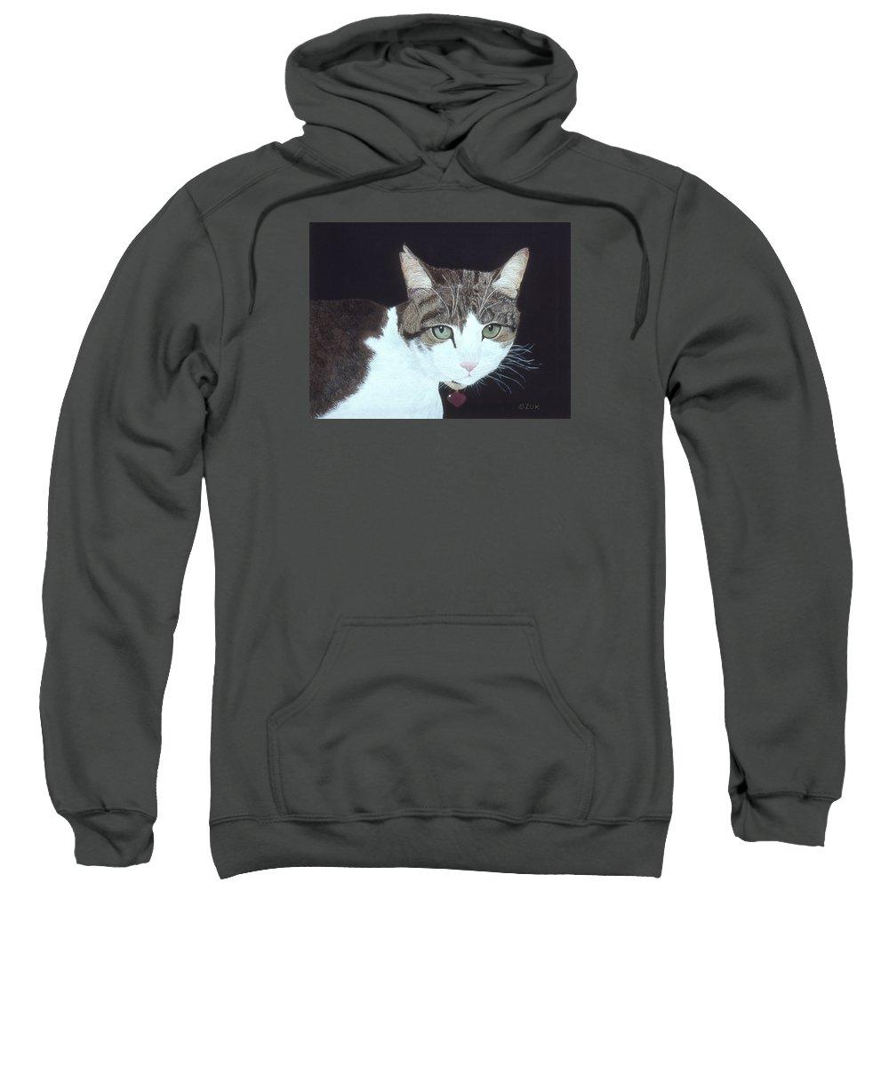 Karen Zuk Rosenblatt Art And Photography Sweatshirt featuring the painting Best Cat by Karen Zuk Rosenblatt
