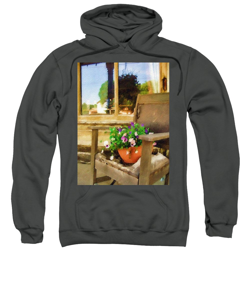 Pansies Sweatshirt featuring the photograph Best Seat In The House by Sandy MacGowan