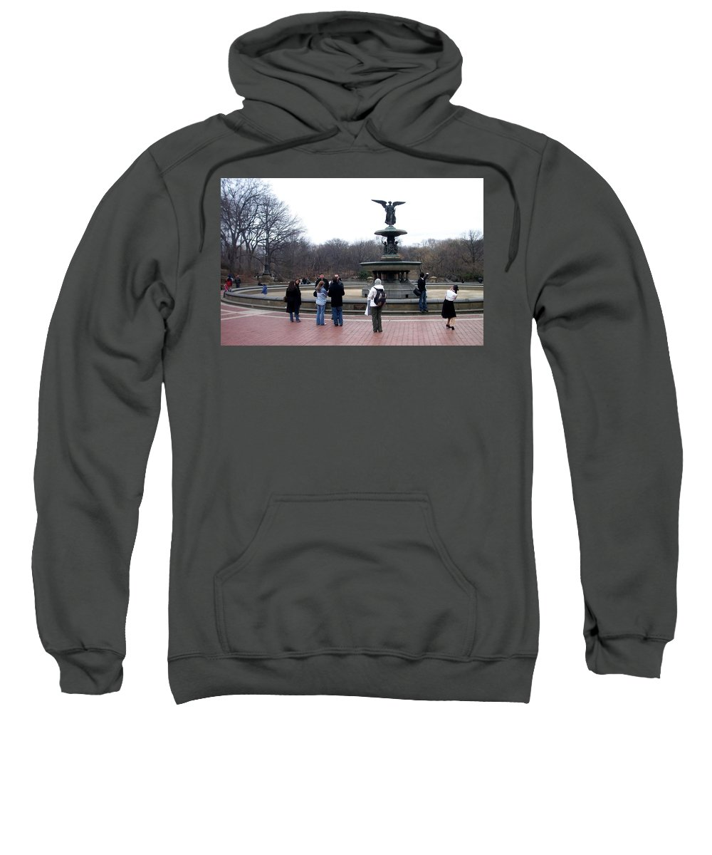 Bethesda Fountain Sweatshirt featuring the photograph Bethesda Fountain by Anita Burgermeister