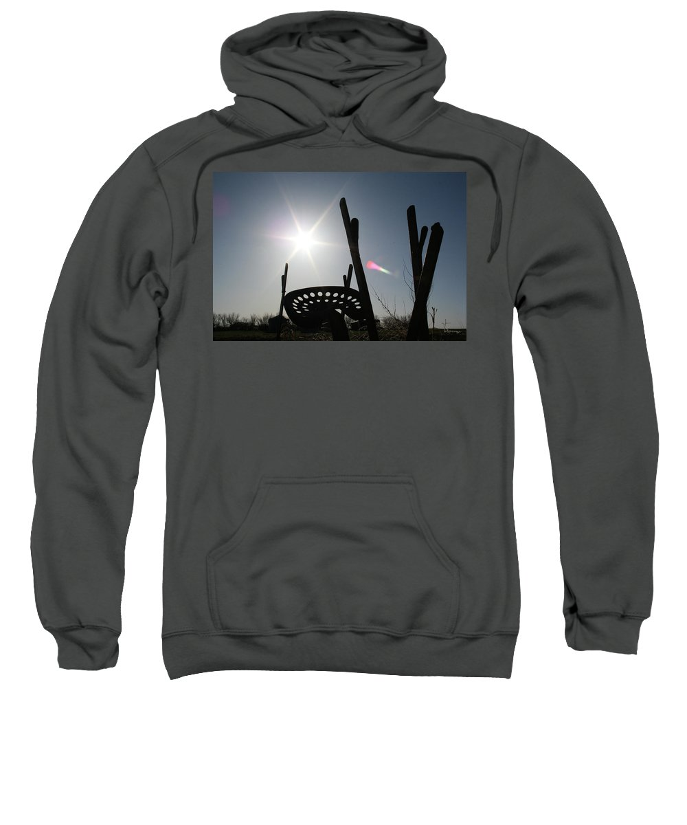 Antique Old Tractor Seat Farm Equipment Sunset Sky Scenery Sweatshirt featuring the photograph Better Days by Andrea Lawrence