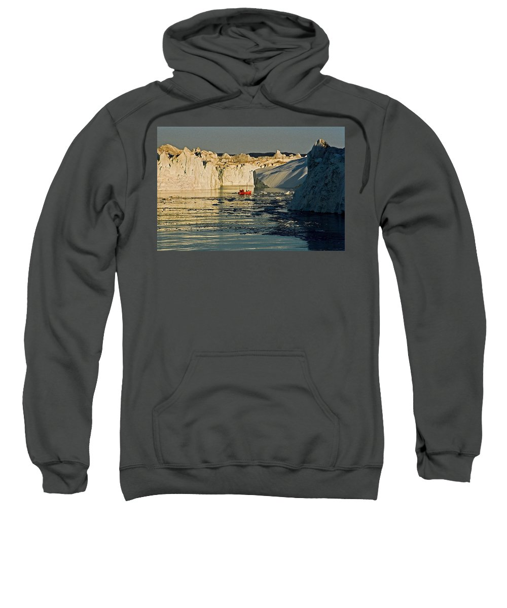 Greenland Sweatshirt featuring the photograph Between Icebergs - Greenland by Juergen Weiss