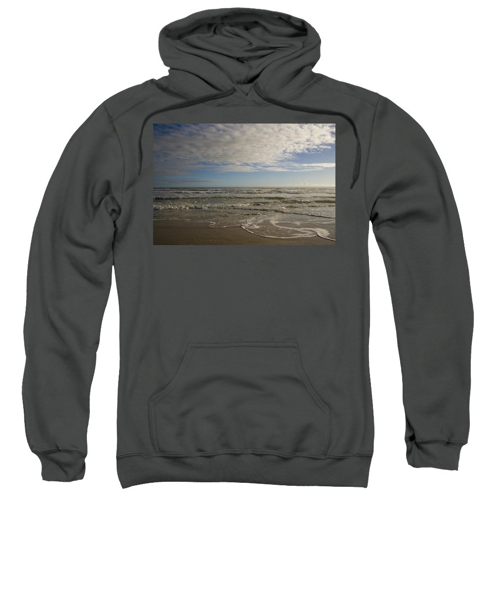 Wave Sand Ocean Beach Sky Water Wave Tide Sun Sunny Vacation Cloud Morning Early Sweatshirt featuring the photograph Between Night And Day by Andrei Shliakhau