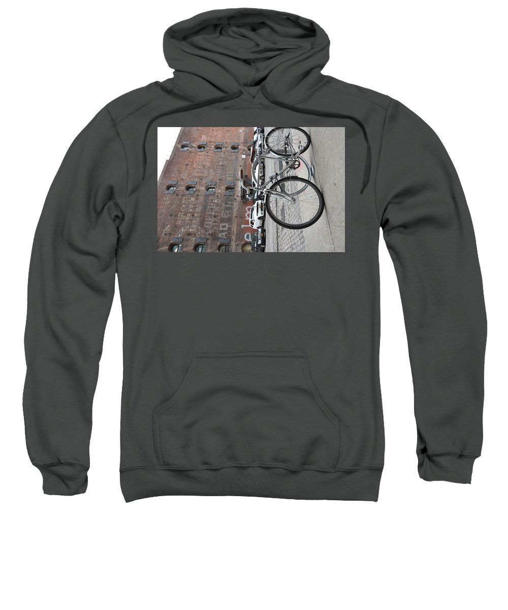 Bicycle Sweatshirt featuring the photograph Bicycle And Building by Aya Edlin