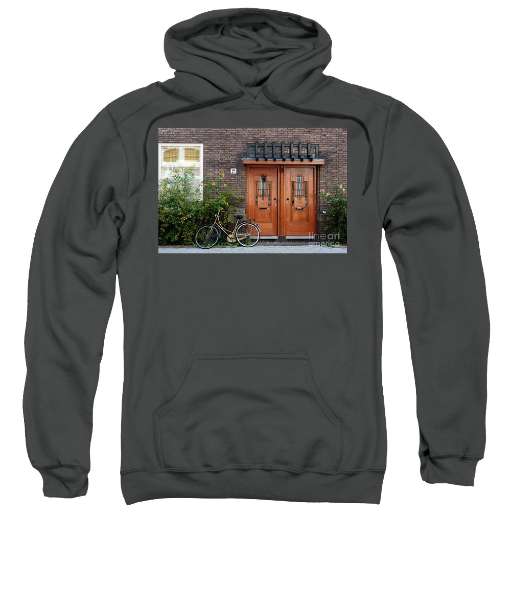 Bicycle Sweatshirt featuring the photograph Bicycle And Wooden Door by Thomas Marchessault