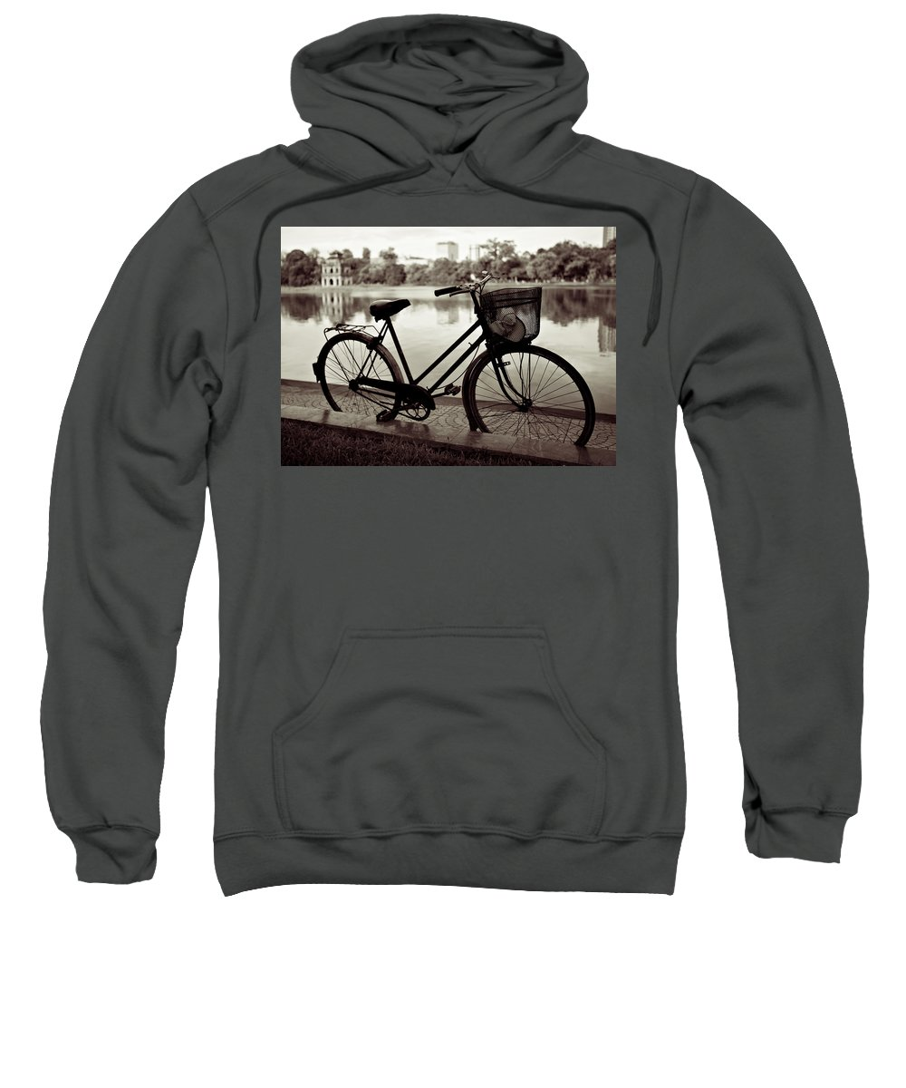 Bicycle Sweatshirt featuring the photograph Bicycle By The Lake by Dave Bowman