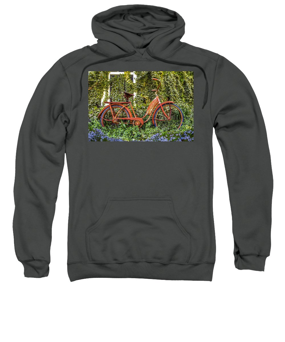Appalachia Sweatshirt featuring the photograph Bicycle In The Garden by Debra and Dave Vanderlaan