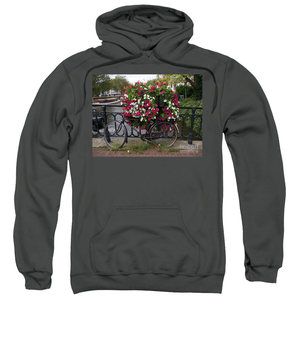 Bicycle Sweatshirt featuring the photograph Bicycle Parked At The Bridge In Amsterdam by Bernard Jaubert