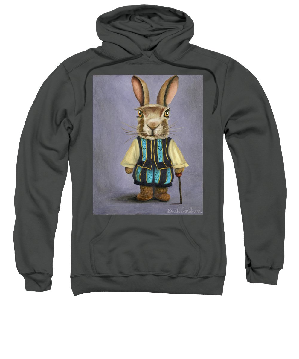 Rabbit Sweatshirt featuring the painting Big Ears 2 by Leah Saulnier The Painting Maniac