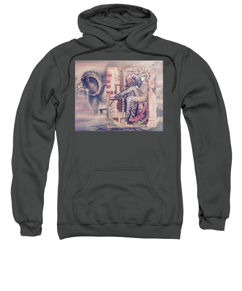 Big Horn Sheep Sweatshirt featuring the mixed media Big Horn Dancer by Walter M Davis