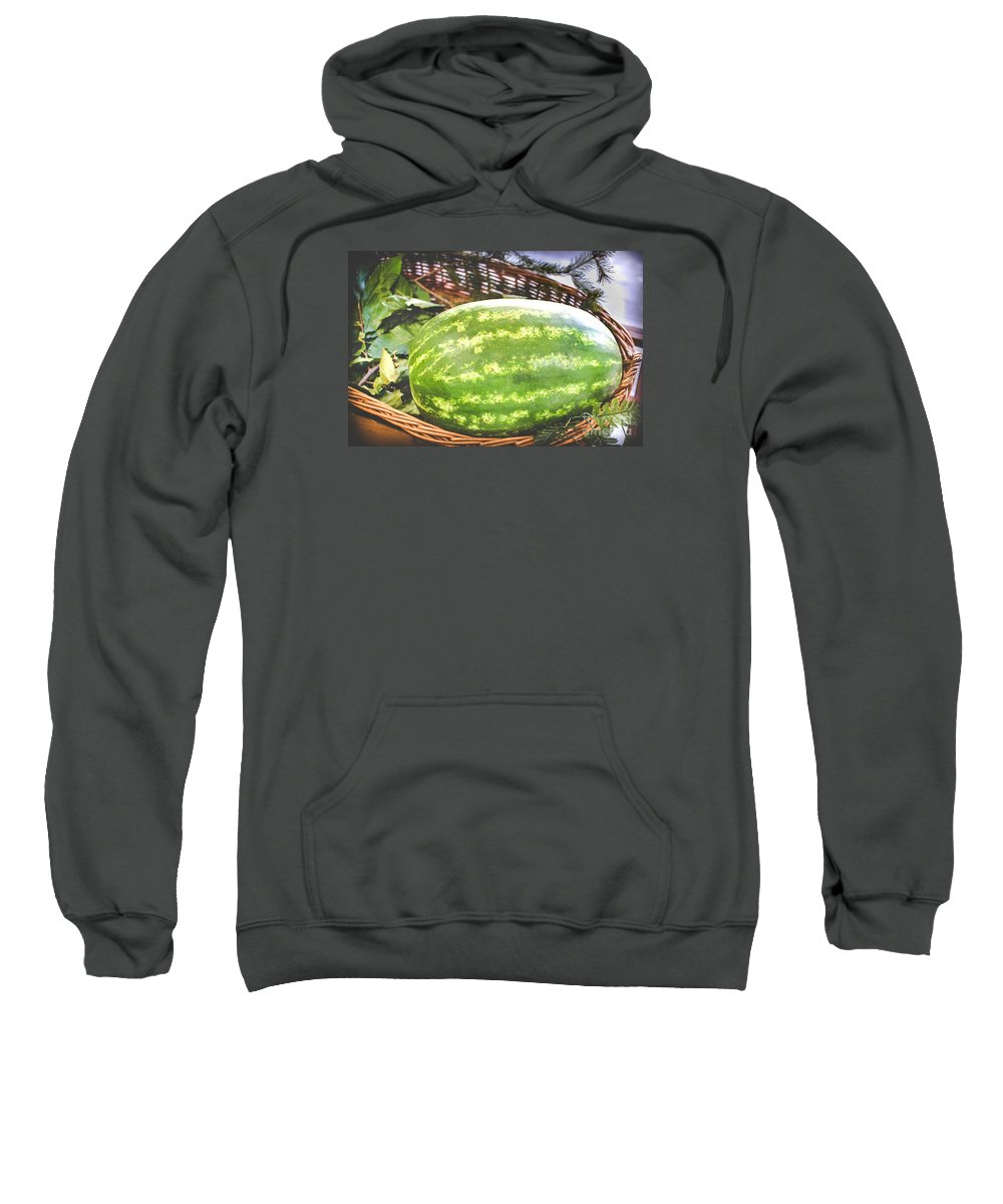 Agriculture Sweatshirt featuring the photograph Big Oval Green Watermelon In A Basket by Luca Lorenzelli