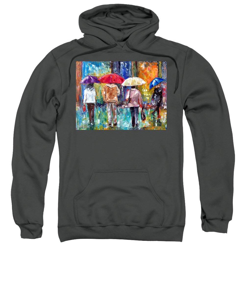 Rain Sweatshirt featuring the painting Big Red Umbrella by Debra Hurd