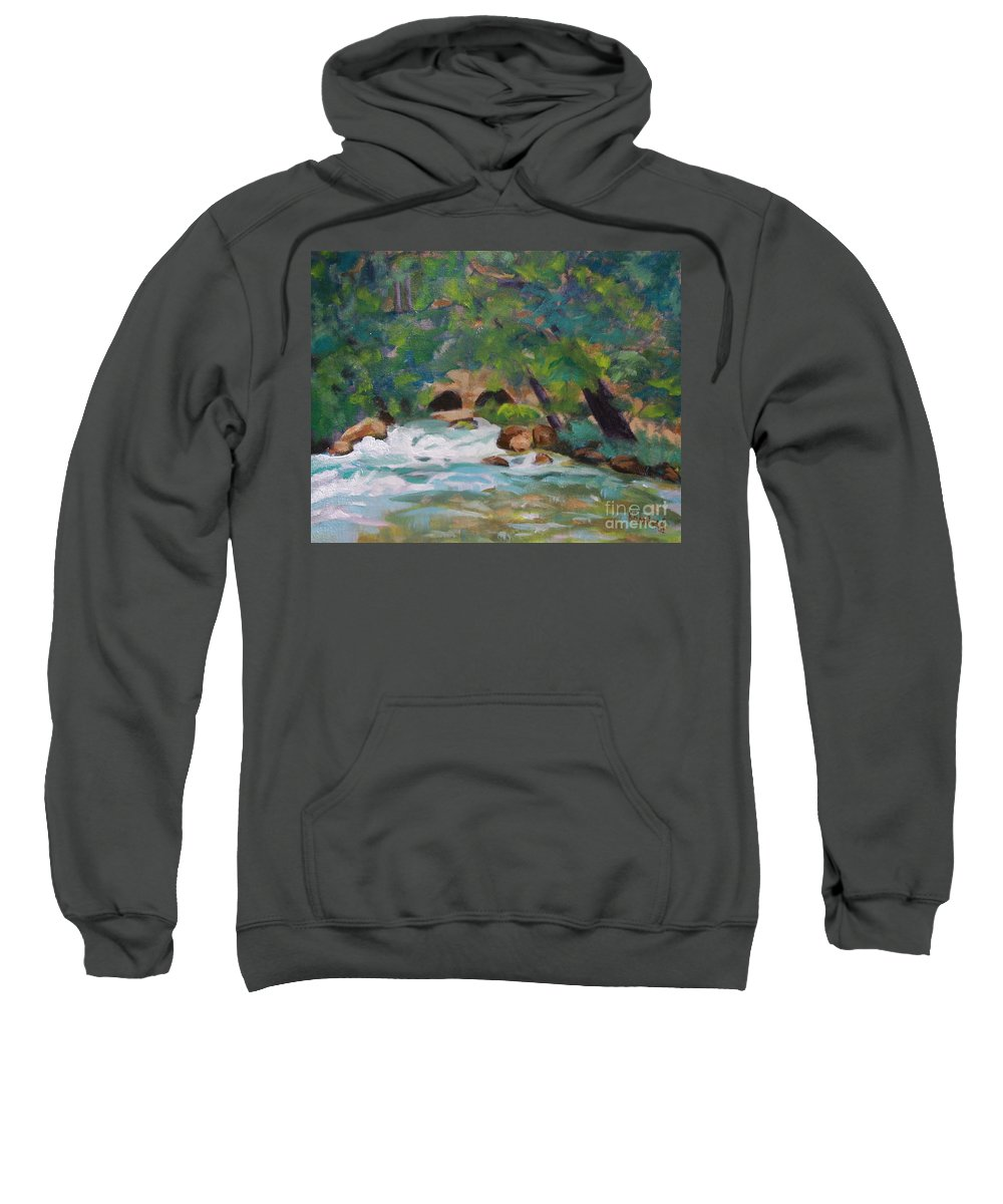 Impressionistic Sweatshirt featuring the painting Big Spring On The Current River by Jan Bennicoff