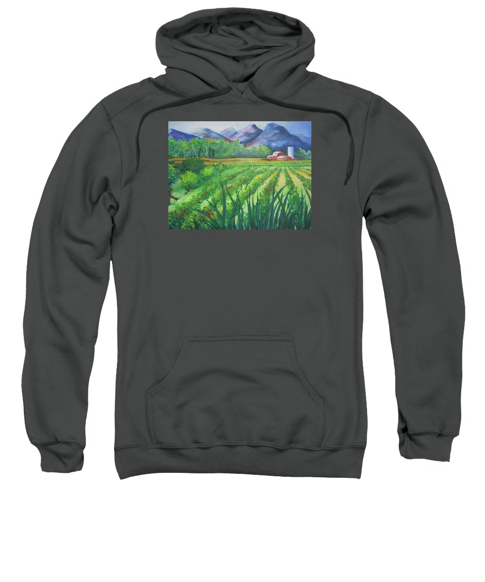 Landscape Sweatshirt featuring the painting Big Valley Farm by Karen Stark