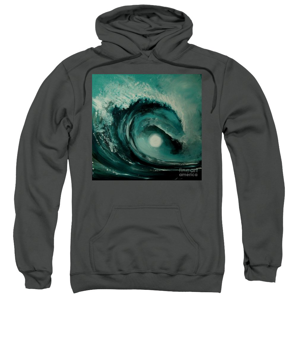 Wave Sweatshirt featuring the painting Big Wave by Caroline Peacock