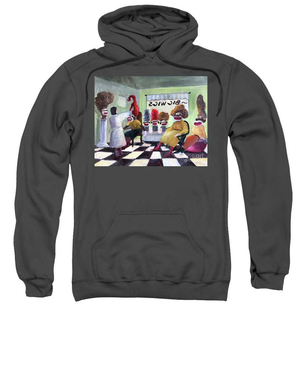Sock Monkeys Sweatshirt featuring the painting Big Wigs And False Teeth by Randy Burns