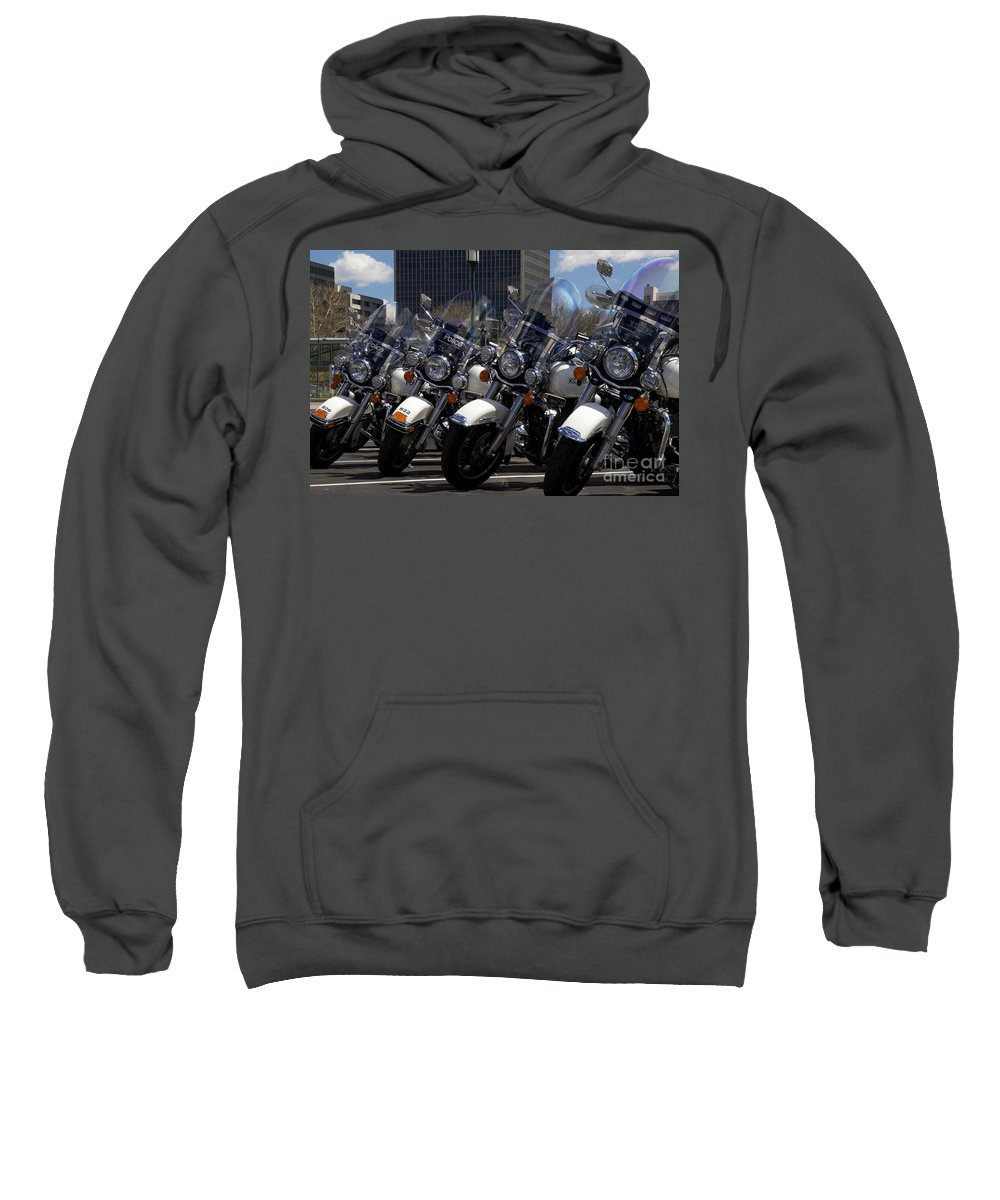Police Sweatshirt featuring the photograph Bikes In Blue by John Franke