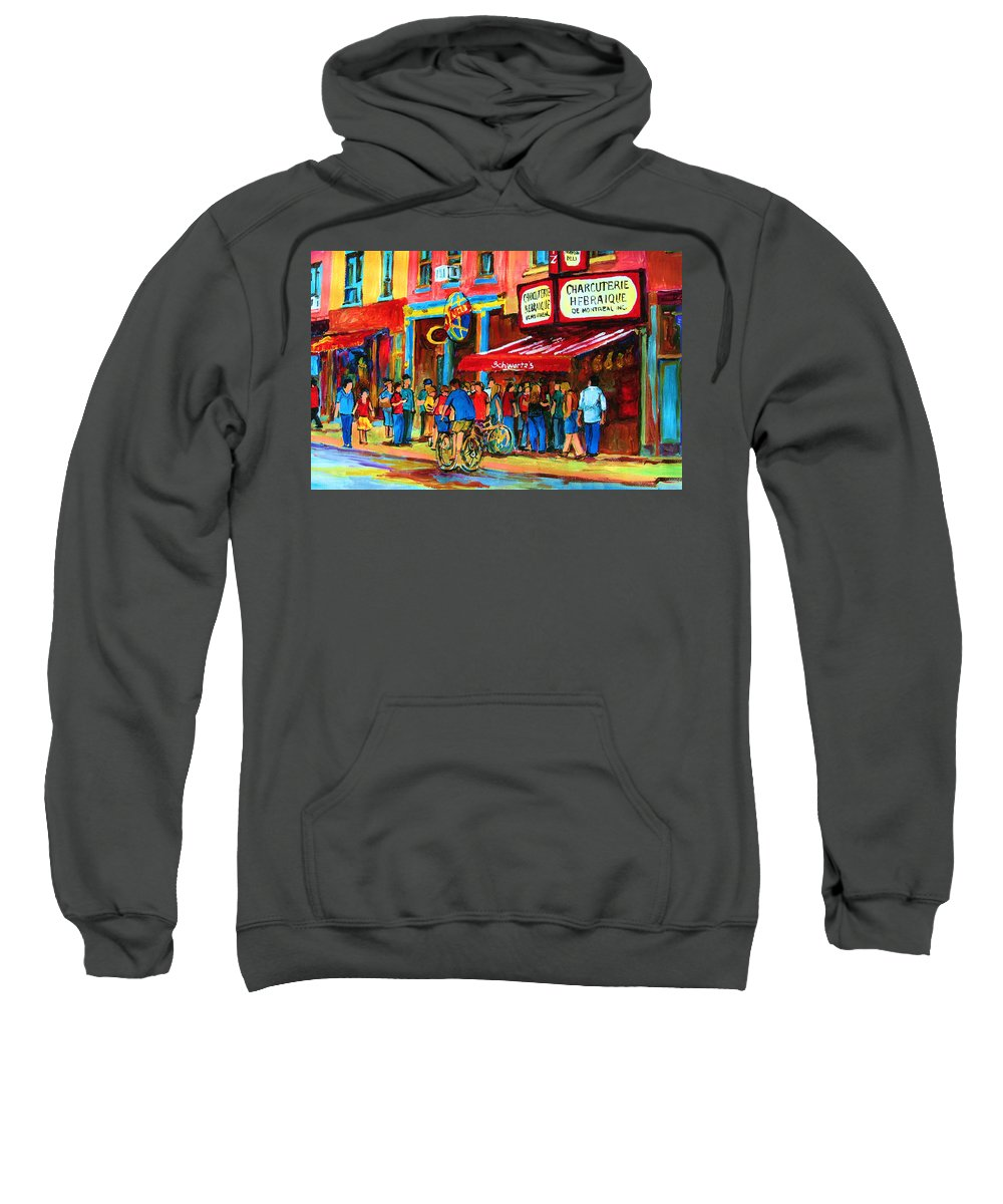 Schwartzs Smoked Meat Deli Sweatshirt featuring the painting Biking Past The Deli by Carole Spandau