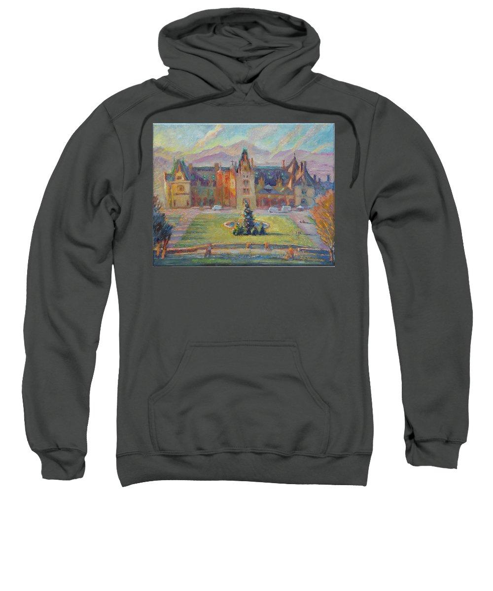 Mansion Sweatshirt featuring the painting Biltmore Christmas Morning by Lisa Blackshear