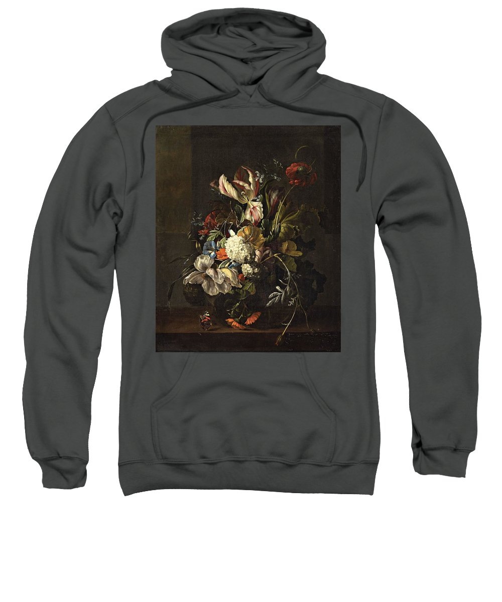 Rachel Ruysch Sweatshirt featuring the painting Bindweed And Chrysanthemums by MotionAge Designs