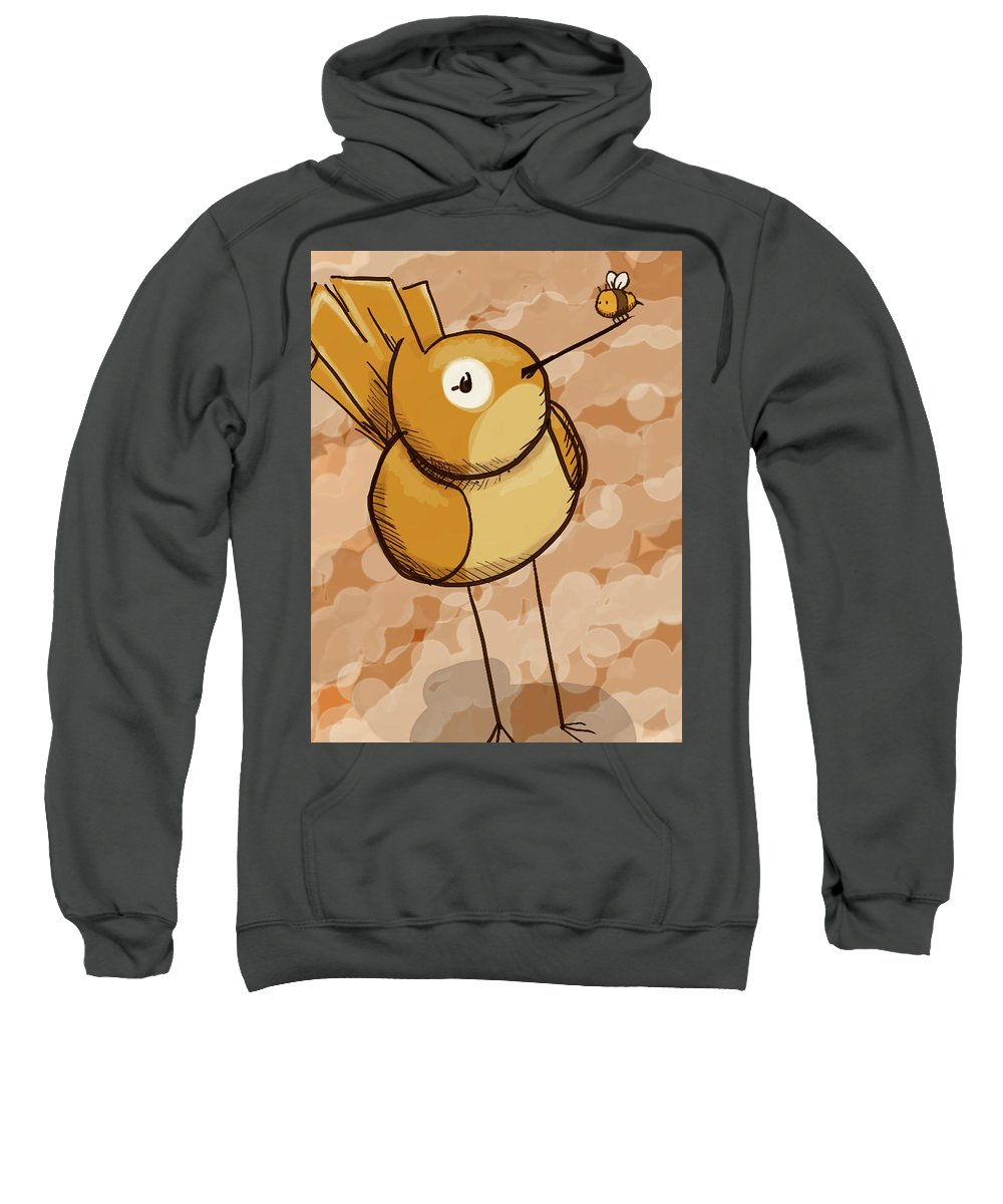 Tis But A Little Bee Sitting Upon A Birbs Beak. Sweatshirt featuring the digital art Birb 'n' Bee by Brendon Weese