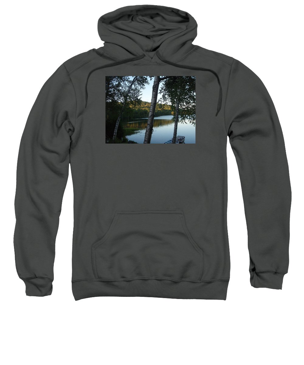 Landscape Sweatshirt featuring the photograph Birch Trees Along The Lake by Mary Lynne Crispo