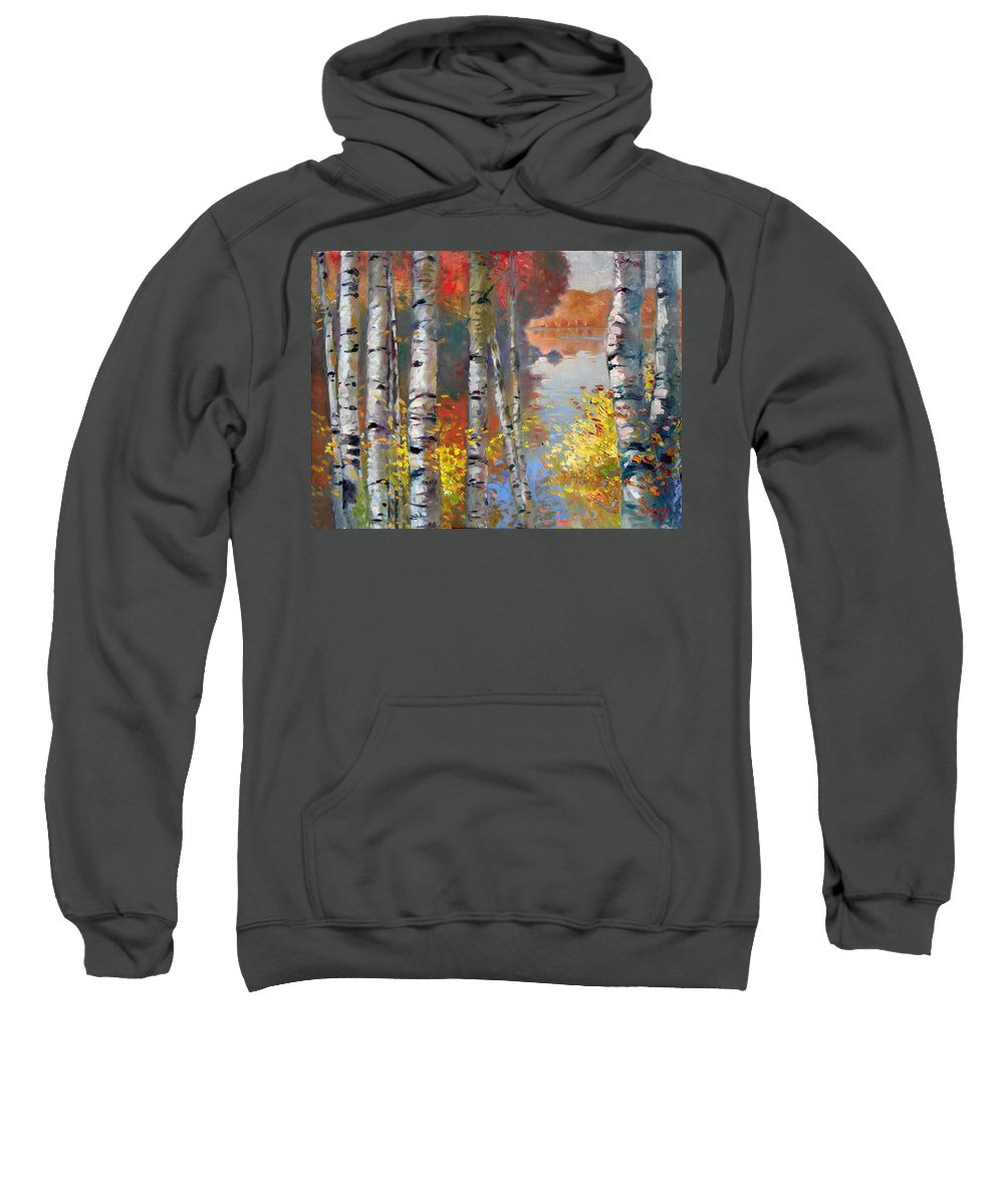Landscape Sweatshirt featuring the painting Birch Trees By The Lake by Ylli Haruni