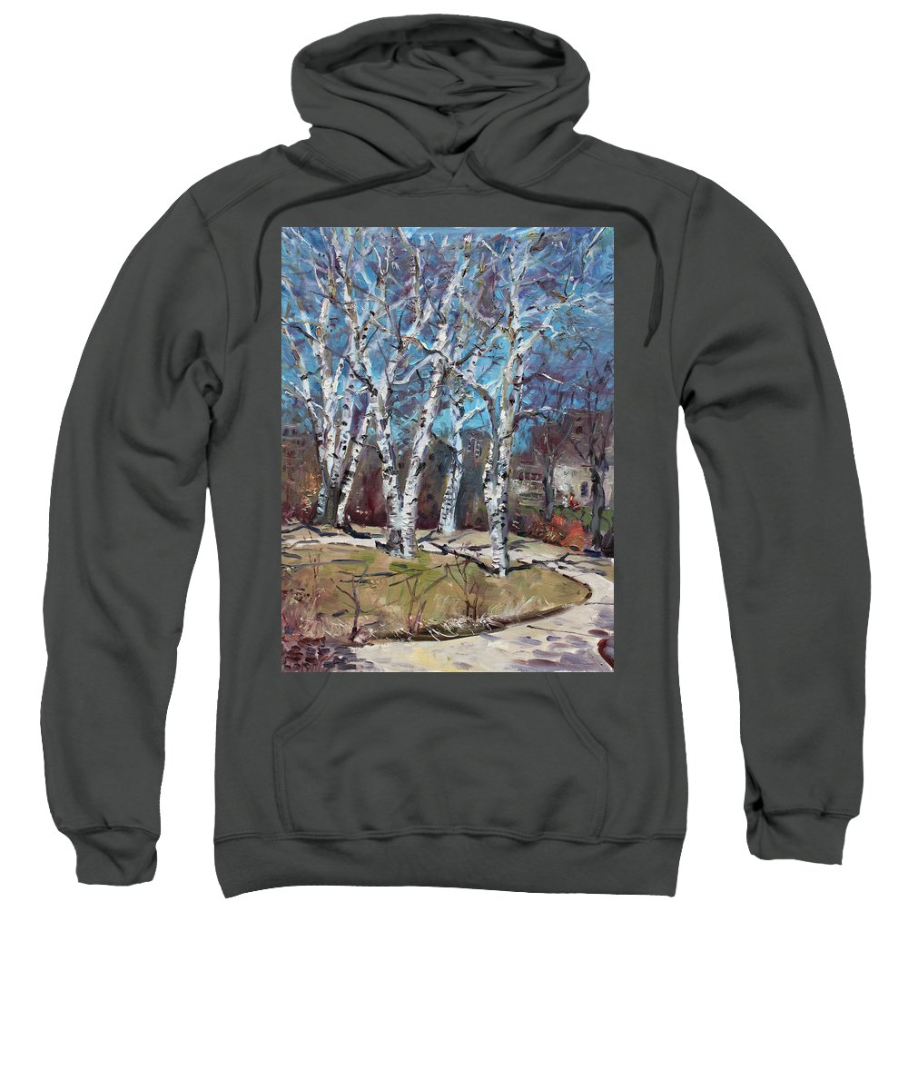 Landscape Sweatshirt featuring the painting Birch Trees Next Door by Ylli Haruni