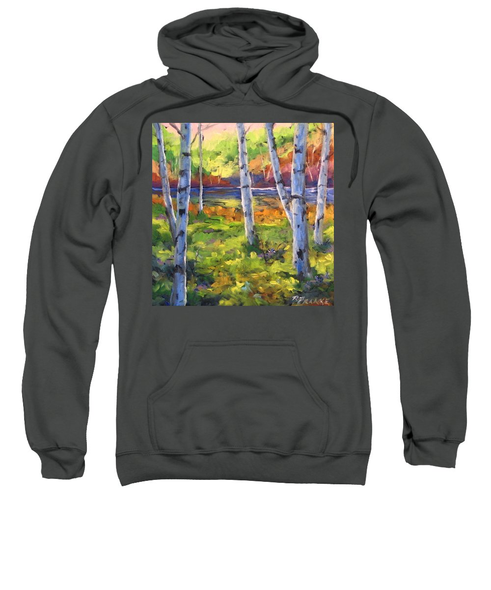 Art Sweatshirt featuring the painting Birches 01 by Richard T Pranke