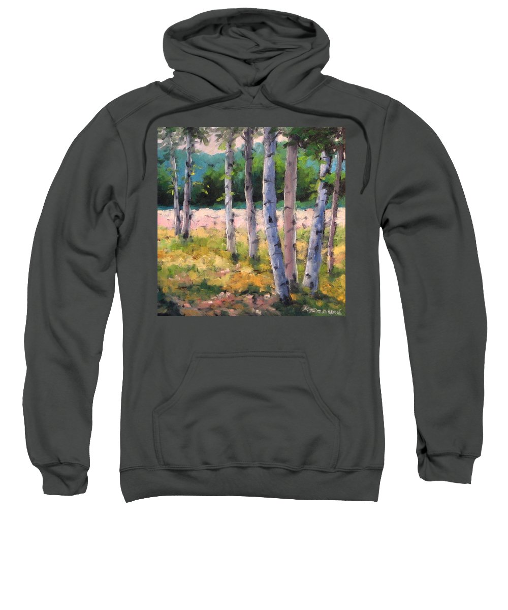 Art Sweatshirt featuring the painting Birches 04 by Richard T Pranke