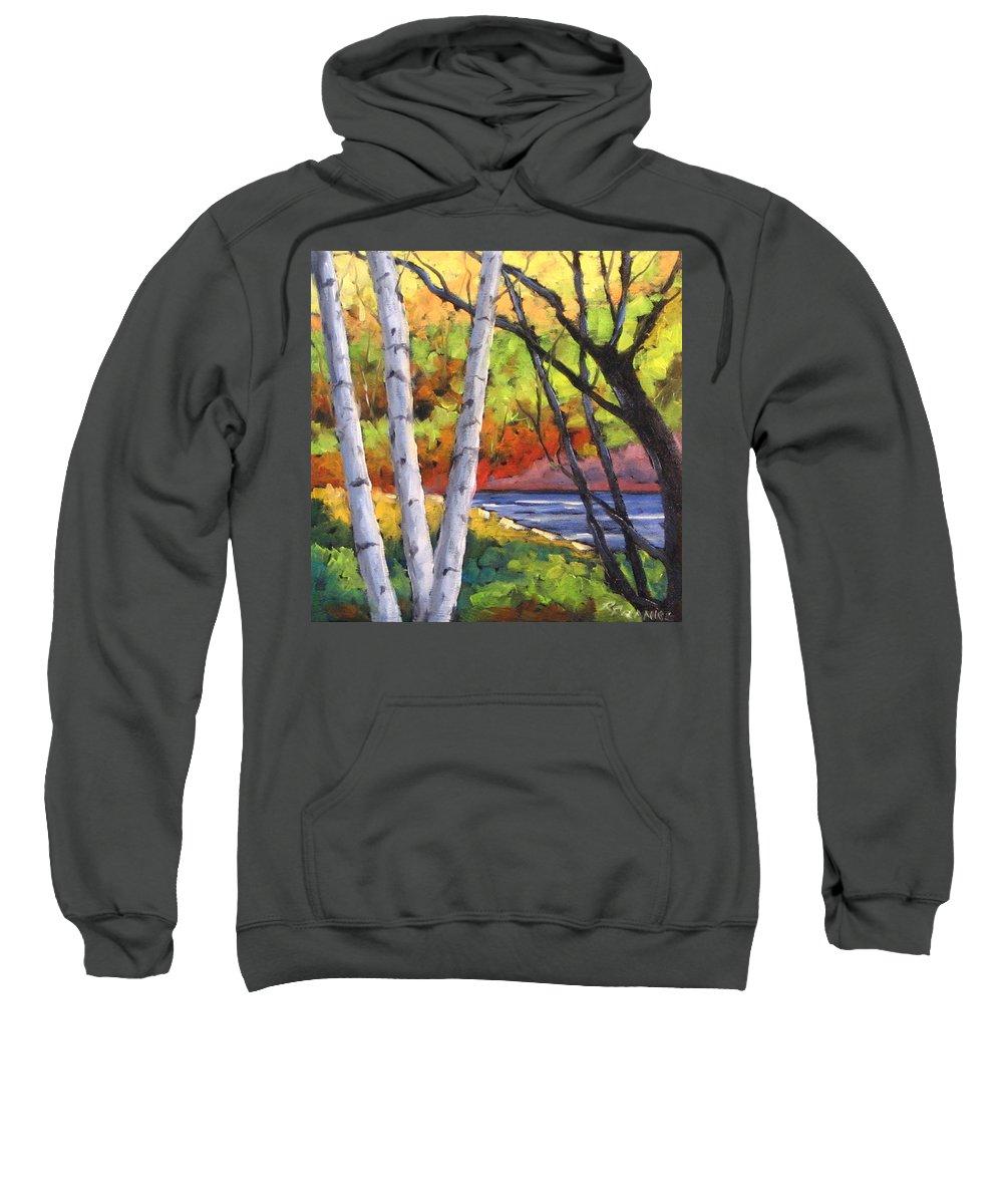 Art Sweatshirt featuring the painting Birches 06 by Richard T Pranke