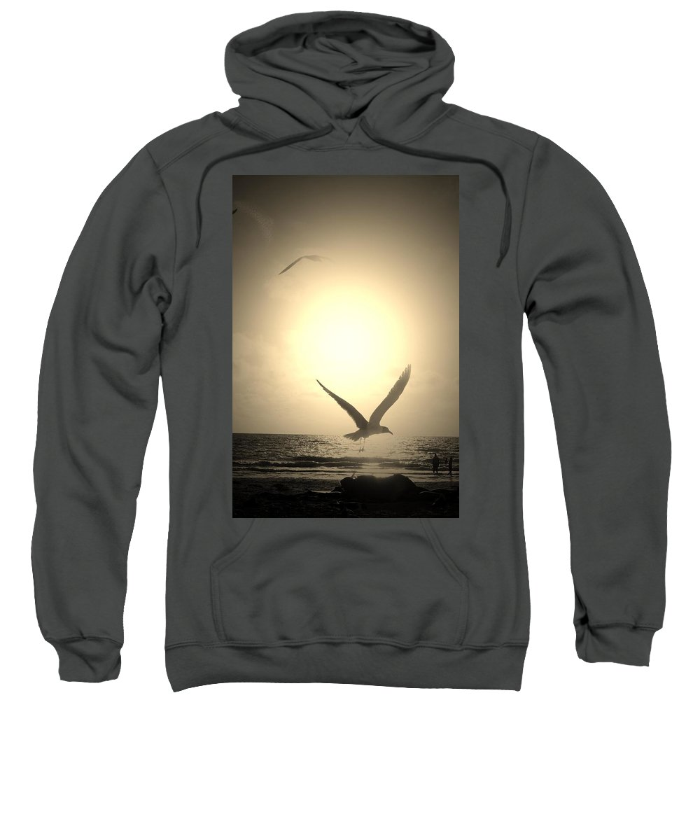 Photo Sweatshirt featuring the photograph Bird In The Sunset by Susan Jacob