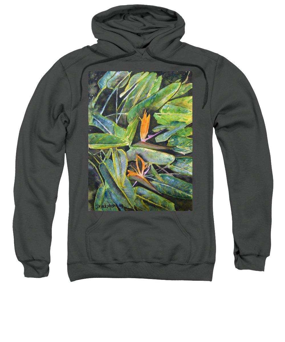 Flower Sweatshirt featuring the painting Bird Of Paradise 2 by Derek Mccrea