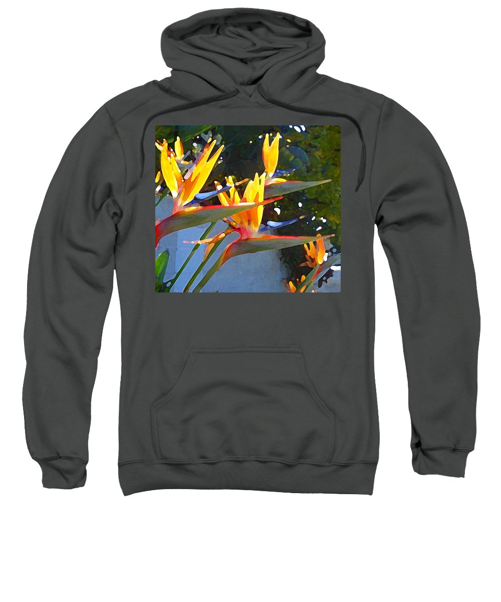 Abstract Sweatshirt featuring the painting Bird Of Paradise Backlit By Sun by Amy Vangsgard