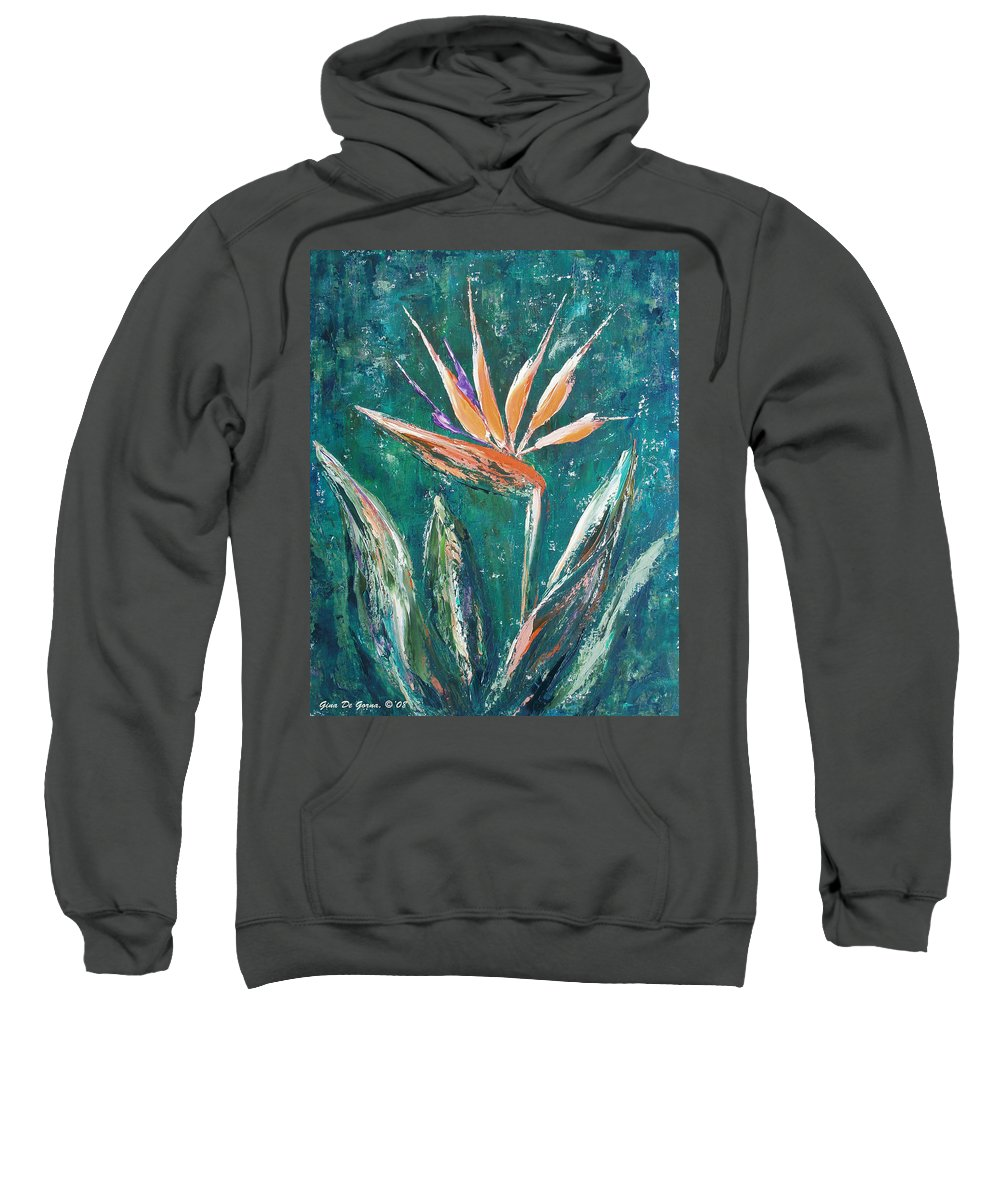 Bird Of Paradise Sweatshirt featuring the painting Bird Of Paradise by Gina De Gorna