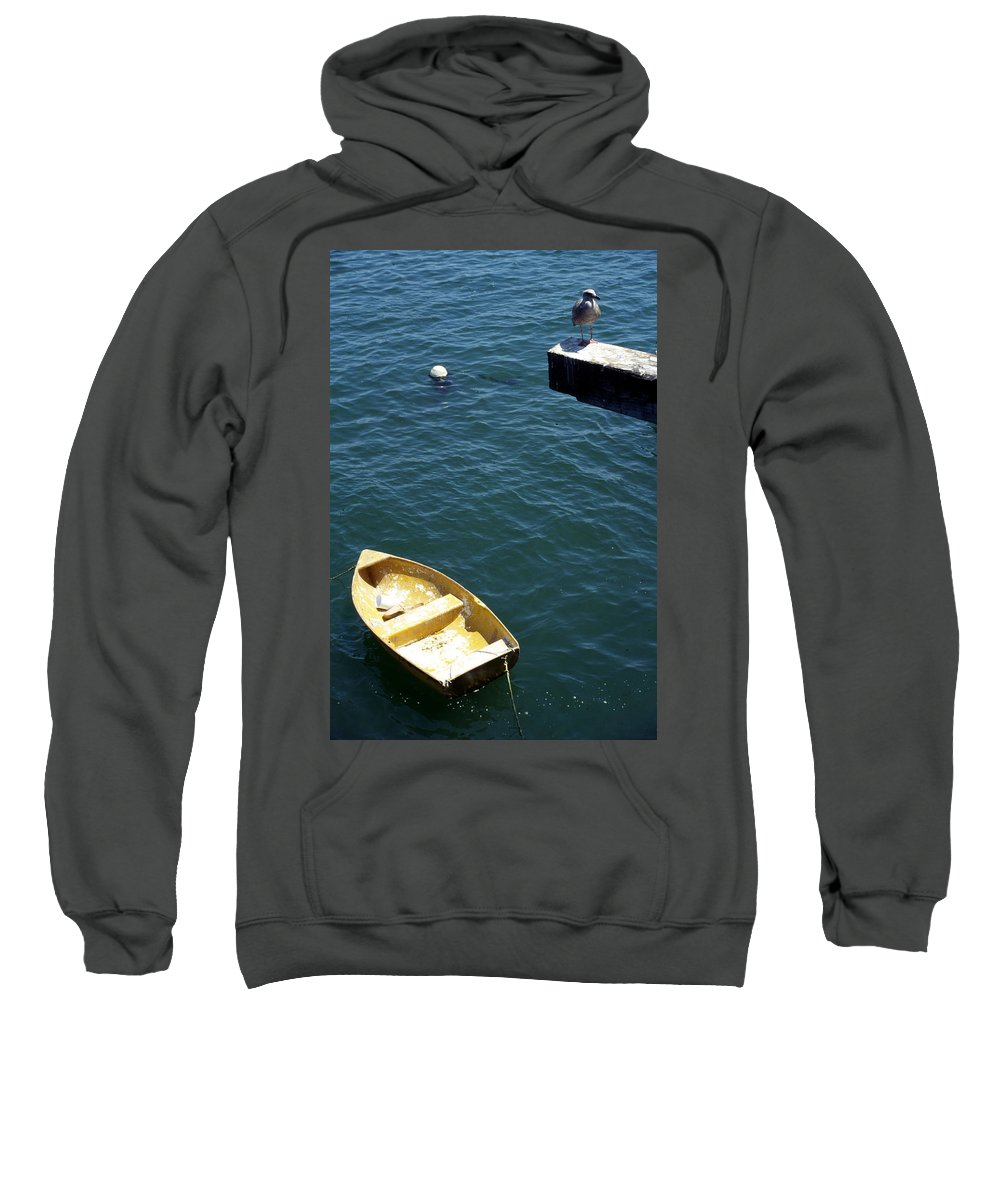 Ocean Sweatshirt featuring the photograph Bird Over Boat. by Spirit Vision Photography