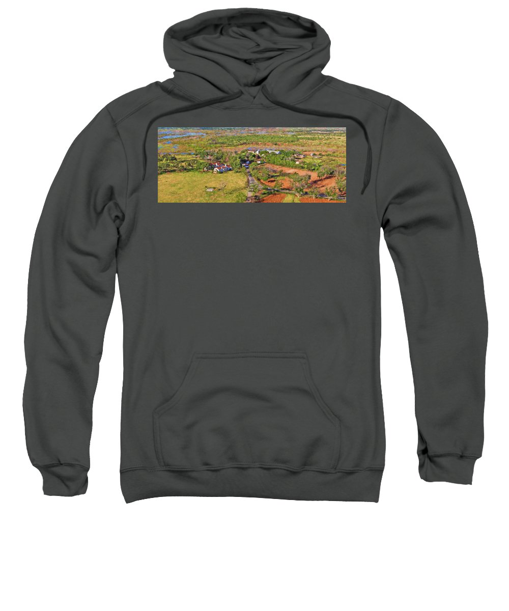 Ranch Sweatshirt featuring the painting Bird Over Santa Rosa, Nbr 1b by Will Barger
