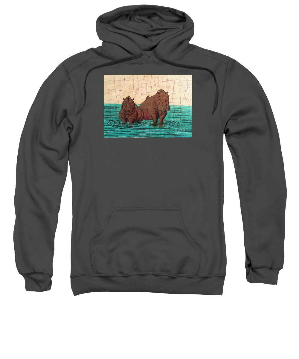 African Sweatshirt featuring the painting Birds Eye View by Peter Chikwondi