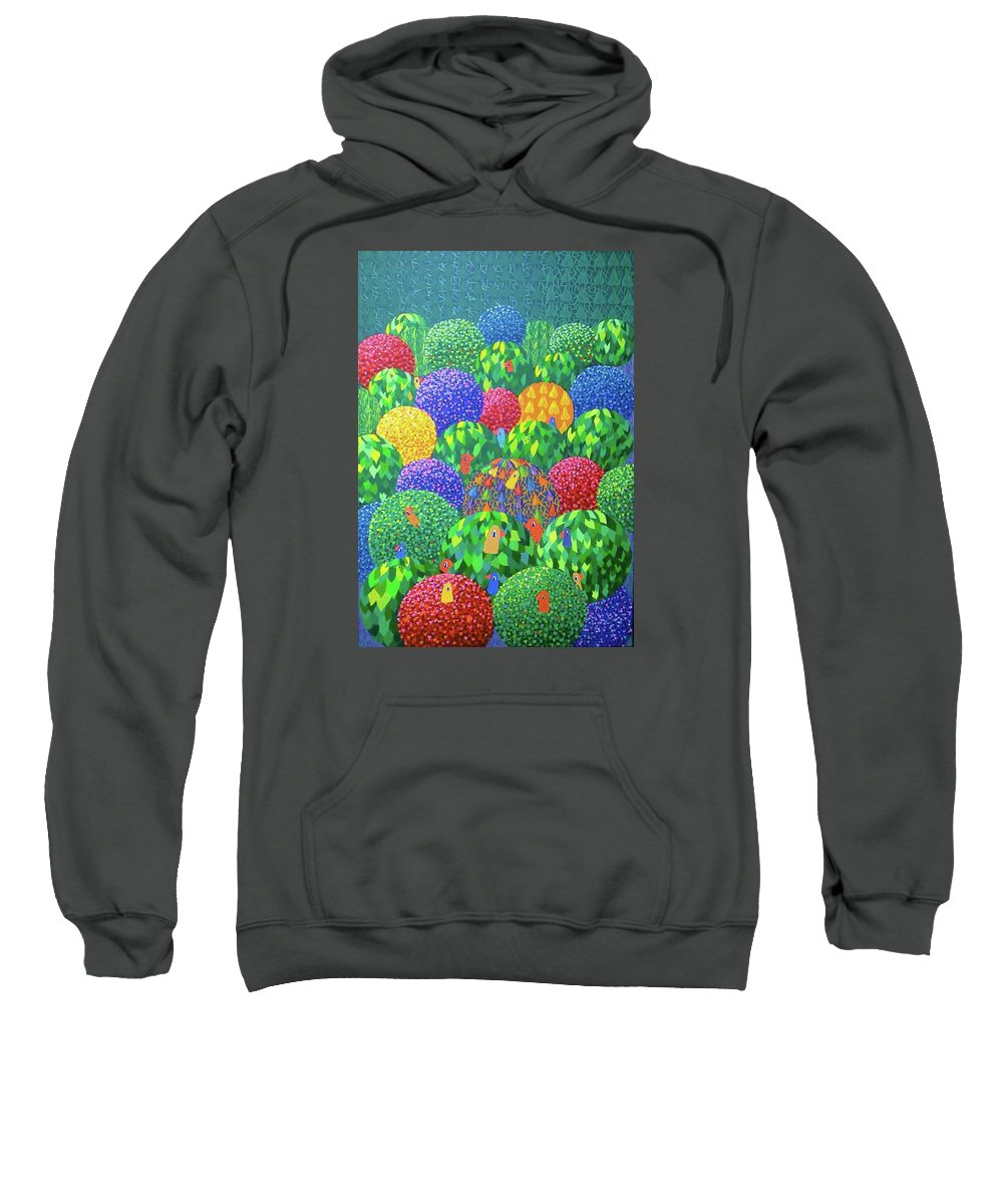 Trees Sweatshirt featuring the painting Birds by Mimi Revencu