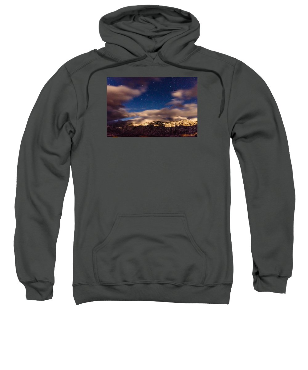 Mountains Sweatshirt featuring the photograph Bishop Night by Kevin Beggs
