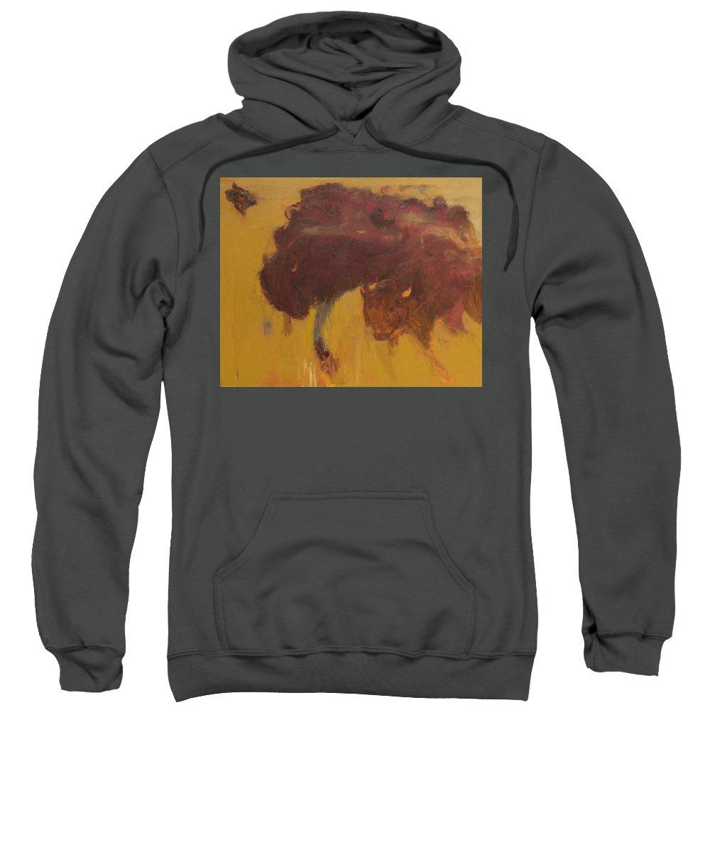 Bison Sweatshirt featuring the painting Bison Herd by Craig Newland