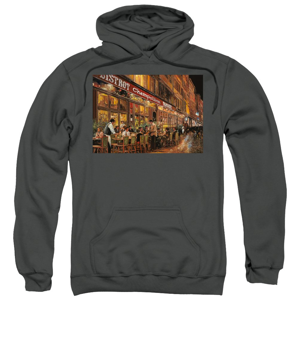 Street Scene Sweatshirt featuring the painting Bistrot Champollion by Guido Borelli