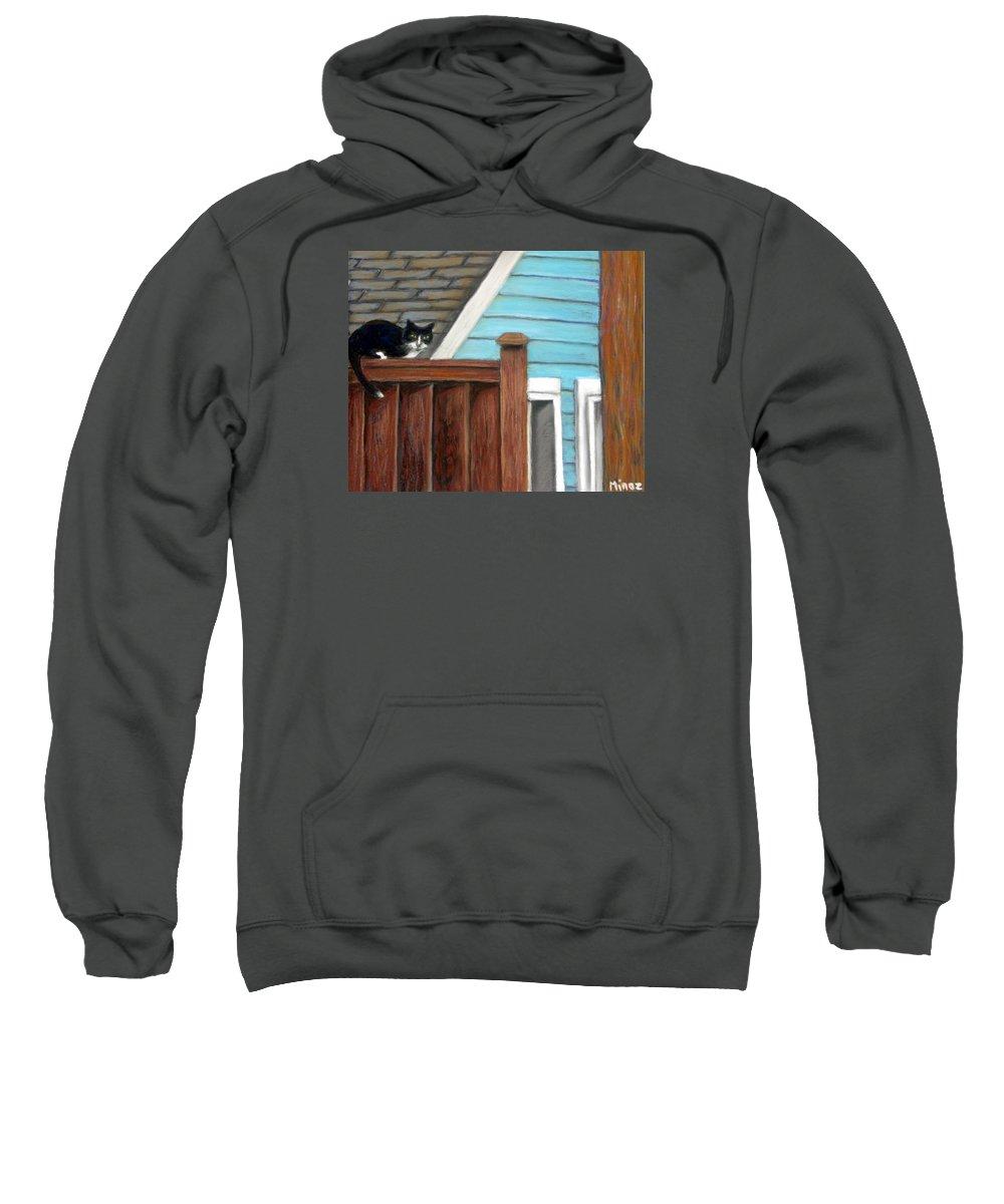 Cat Sweatshirt featuring the painting Black Alley Cat by Minaz Jantz