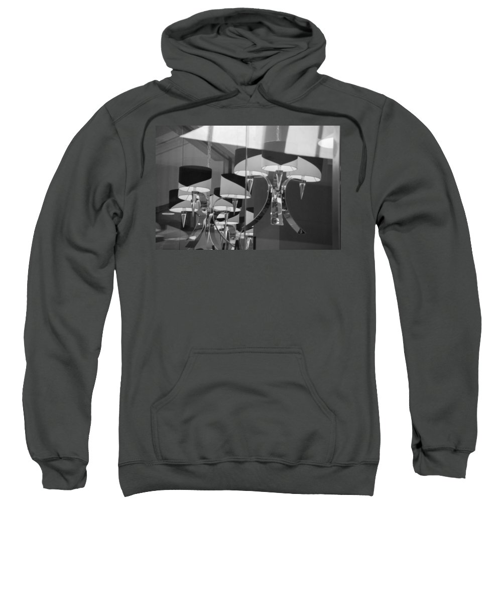 Chandeliers Sweatshirt featuring the photograph Black And White Lights by Rob Hans
