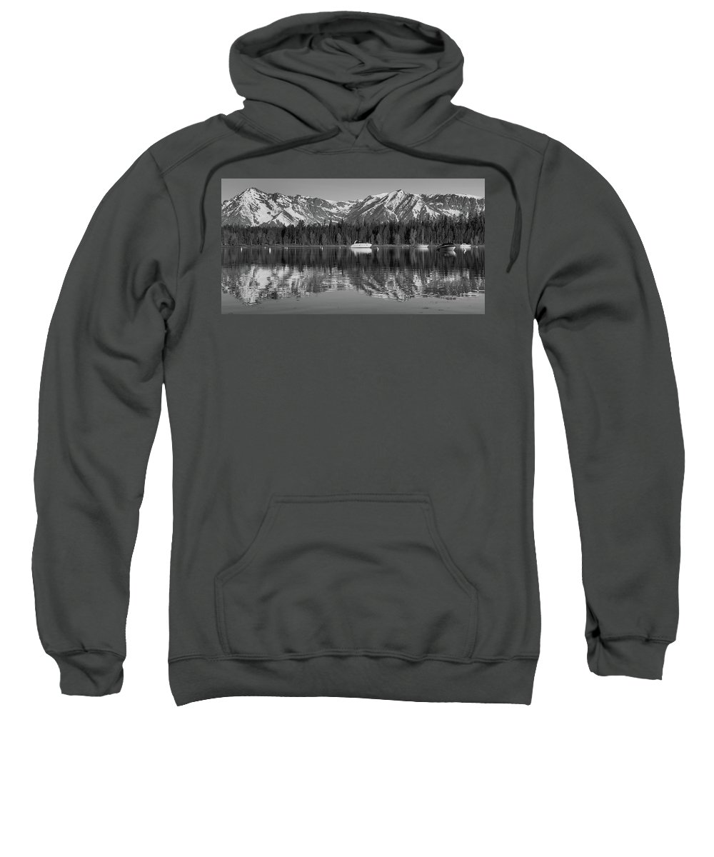 Black And White Reflection On Jackson Lake Wyoming Sweatshirt featuring the photograph Black And White Reflection On Jackson Lake Wyoming by Dan Sproul