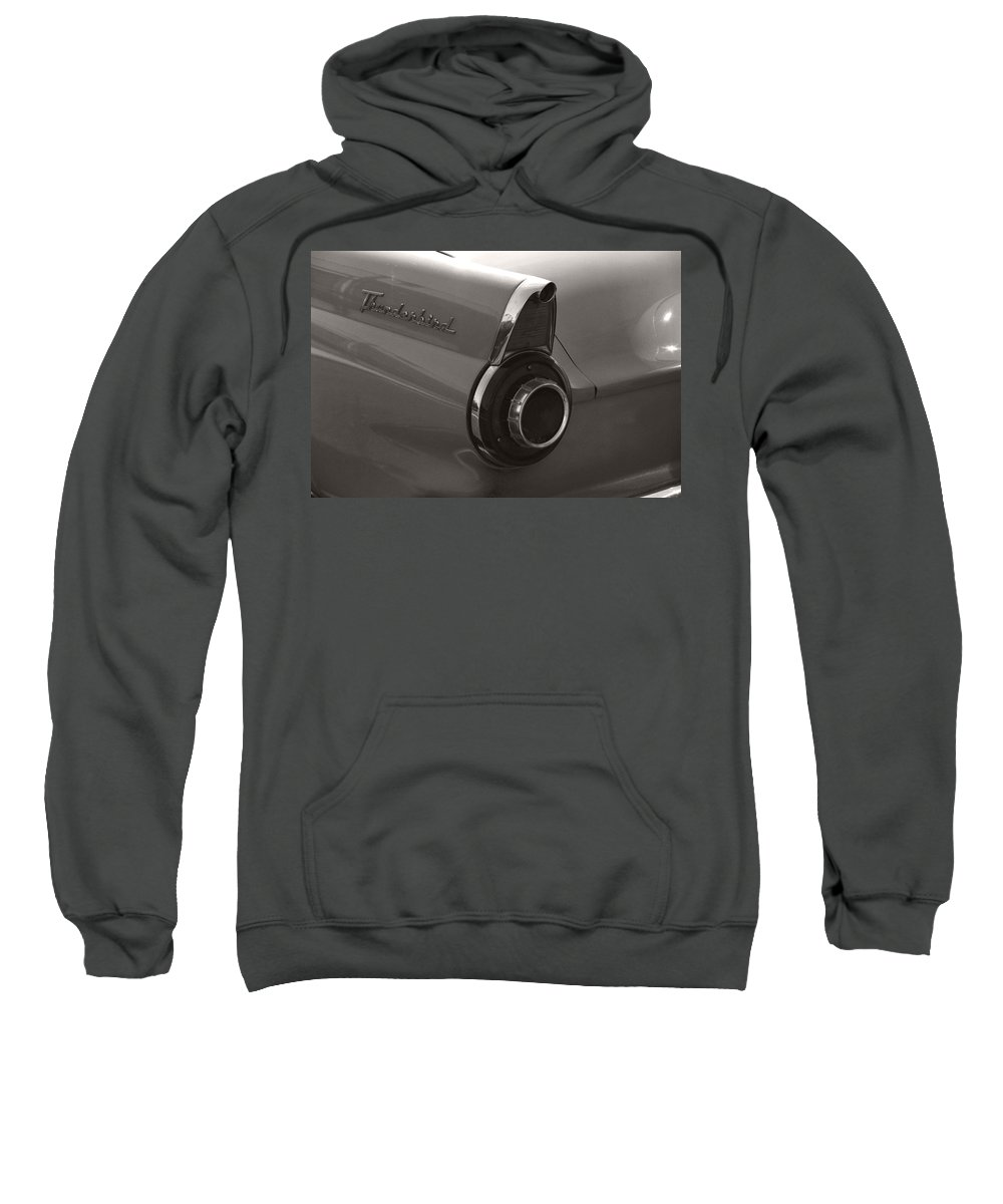 Black And White Photography Sweatshirt featuring the photograph Black And White Thunderbird Tail Fin by Heather Kirk