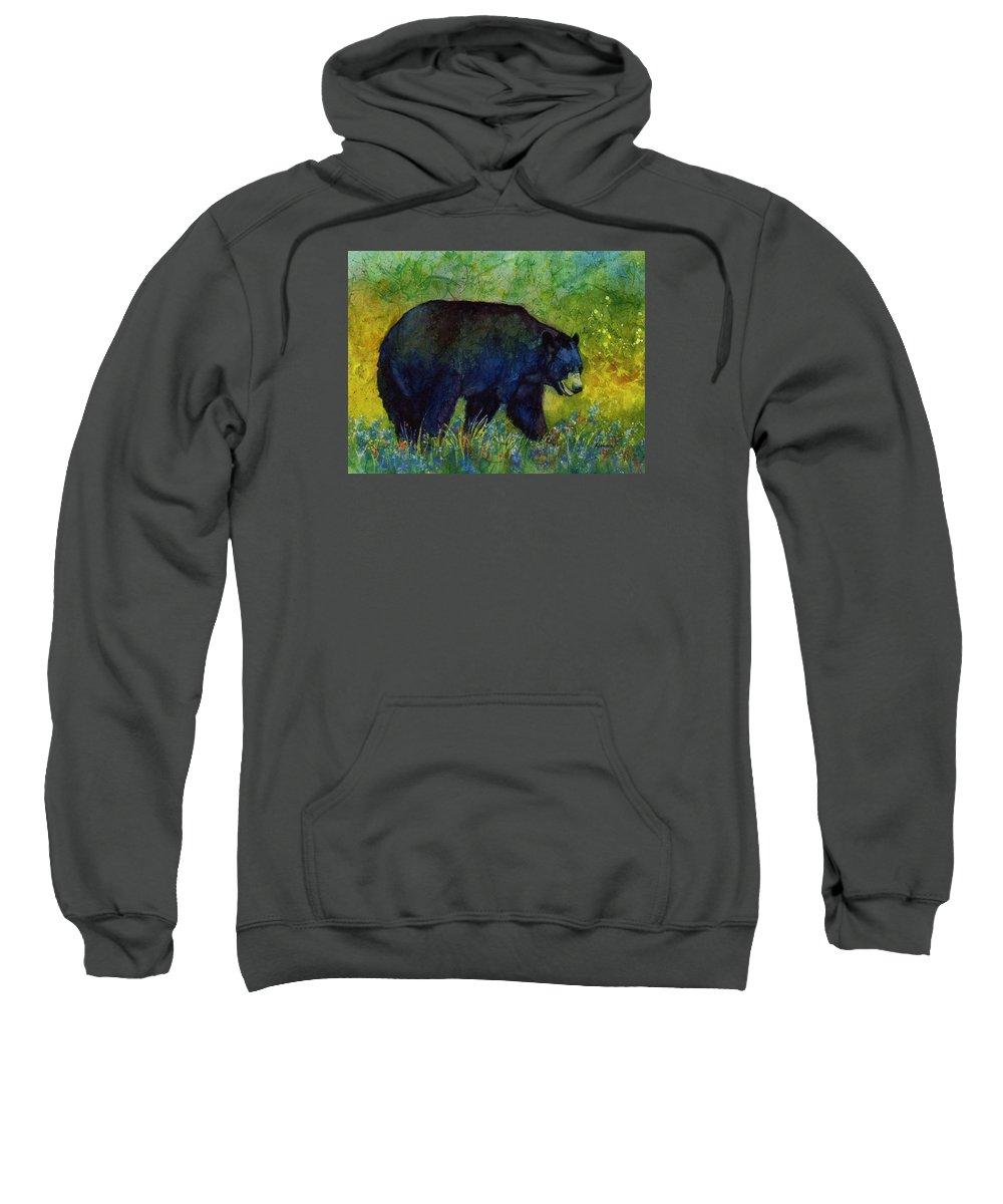 Bear Sweatshirt featuring the painting Black Bear by Hailey E Herrera