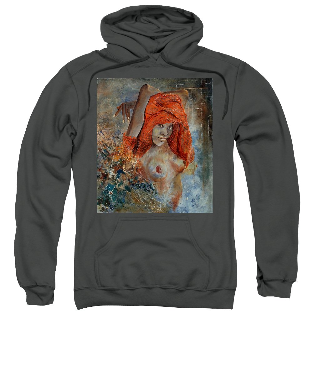 Nude Sweatshirt featuring the painting Black Beauty by Pol Ledent