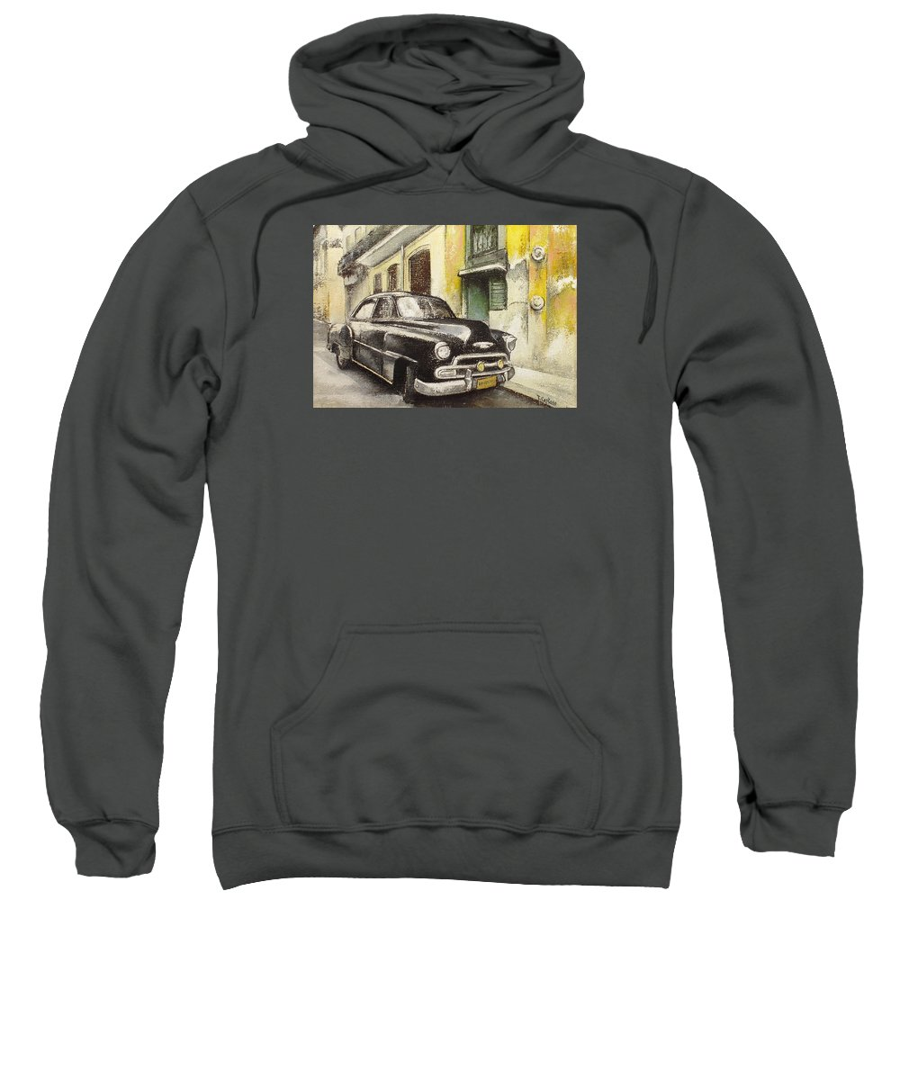 Car Sweatshirt featuring the painting Black cadillac by Tomas Castano