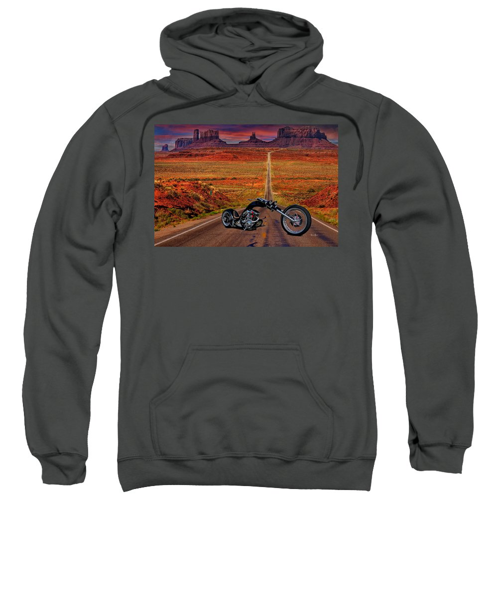 Chopper Sweatshirt featuring the photograph Black Chopper At Monument Valley by Russ Harris
