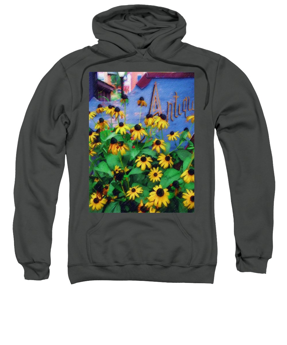 Flowers Sweatshirt featuring the photograph Black-eyed Susans At The Bag Factory by Sandy MacGowan